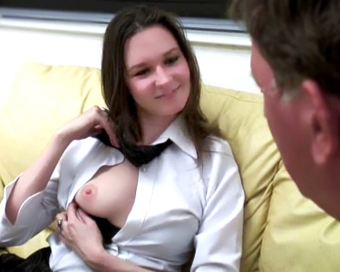 Baby-face Edith learns to swallow a big load